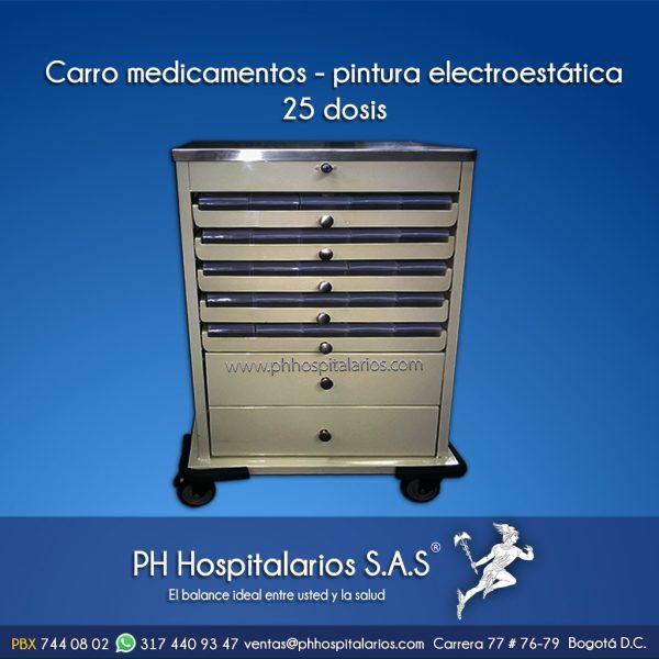 Carro medicamentos - pintura electroestática25 dosis PH Hospit