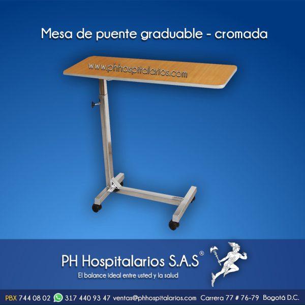 Mesa de puente graduable - cromada PH Hospitalarios