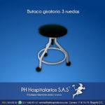 Butaco giratorio 3 ruedas Muebles Hospitalarios Acero inoxidable - Pintura electroestática - Somos fabricantes