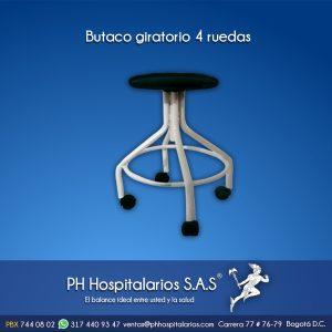 Butaco giratorio 4 ruedas PH Hospitalarios