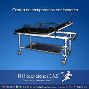 Camilla de recuperación con bandeja Muebles Hospitalarios Acero inoxidable - Pintura electroestática - Somos fabricantes