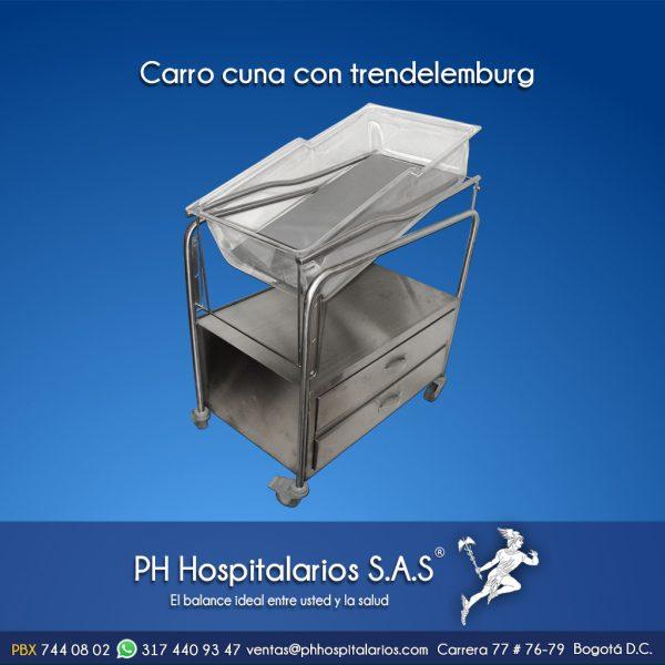 Carro cuna con trendelemburg Muebles Hospitalarios Acero inoxidable - Pintura electroestática - Somos fabricantes