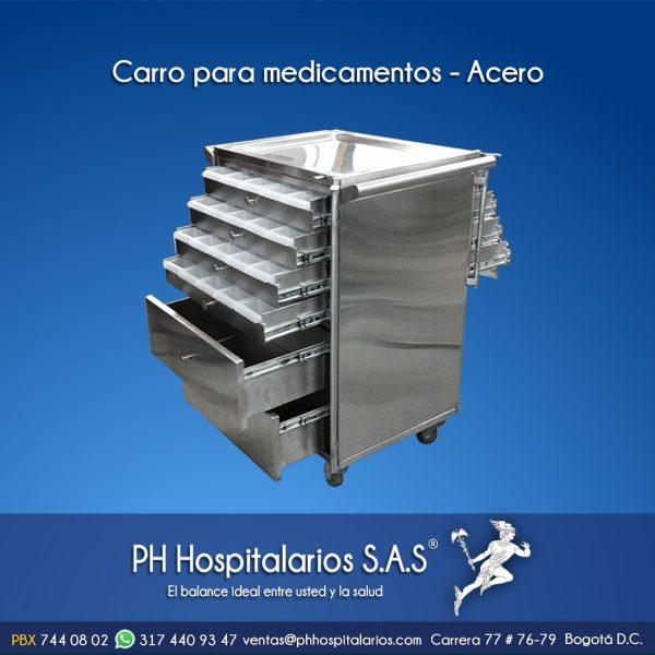 Carro para medicamentos - Acero PH Hospitalarios