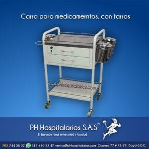 Carro para medicamerntos, con tarros PH Hospitalarios