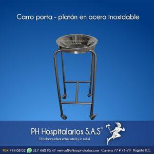 Carro porta - platon en acero inoxidable PH Hospitalarios