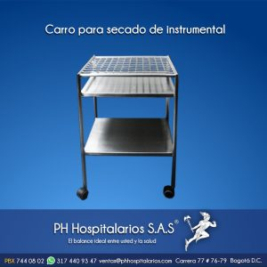 Carro para secado de instrumental - acero inoxidable PH Hospital