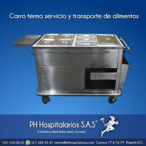 Carro termo servicio y transporte de alimentos en acero inoxidab
