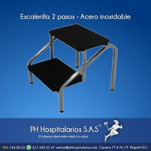 Escalerilla 2 pasos - Acero inoxidable PH Hospitalarios