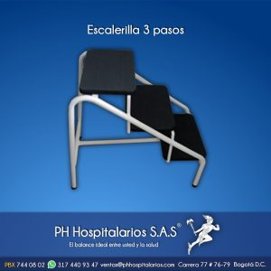 Escalerilla 3 pasos Pintura electrostática PH Hospitalarios