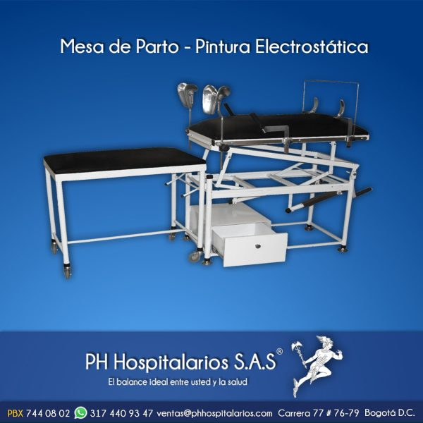 Mesa de Parto - Pintura Electrostática PH Hospitalarios