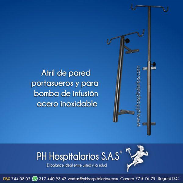 Atril de pared portasueros y para bomba de infusión PH Hospit