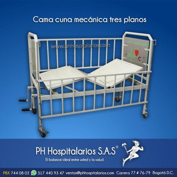 Cama cuna mecánica tres planos PH Hospitalarios
