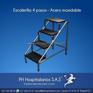 Escalerilla 4 pasos - Acero inoxidable PH Hospitalarios