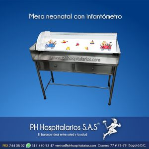 Mesa neonatal con infantómetro PH Hospitalarios