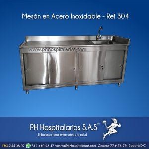 Mesón - Acero Inoxidable - 1 poceta PH Hospitalarios