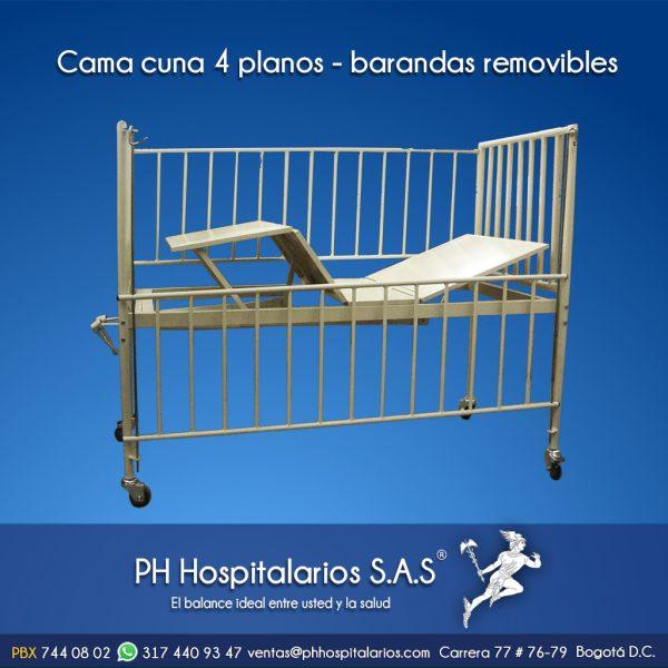 Cama cuna 4 planos - barandas removibles Muebles Hospitalarios Acero inoxidable - Pintura electroestática - Somos fabricantes