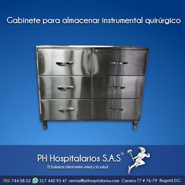 Gabinete para almacenar instrumental quirúrgico Muebles Hospitalarios Acero inoxidable - Pintura electroestática - Somos fabricantes