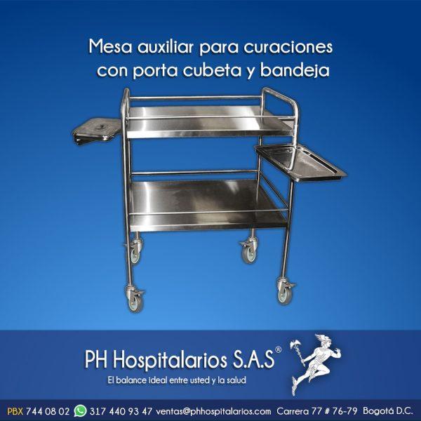 mesa auxiliar para curaciones con porta cubeta y bandeja Muebles Hospitalarios Acero inoxidable - Pintura electroestática - Somos fabricantes
