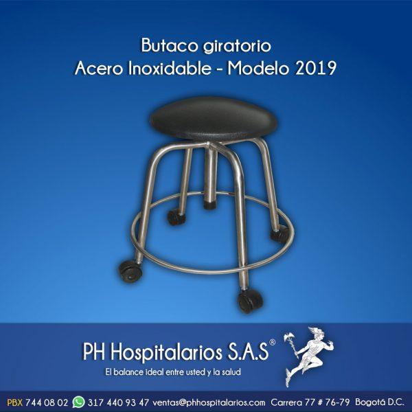 PH Hospitalarios butaco giratorio en acero inoxidable-2019